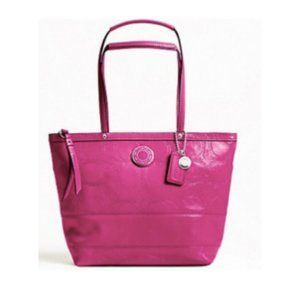Coach Patent Leather Stitched Signature Tote Bag